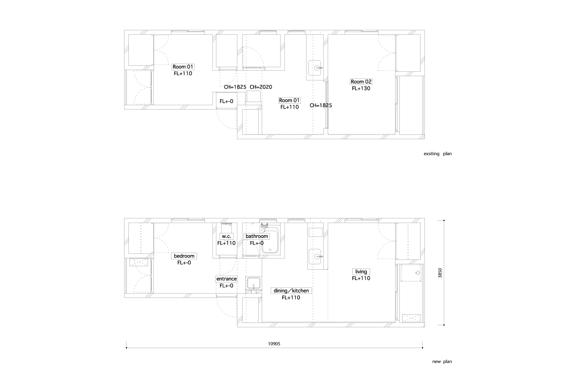plans before and after renovation